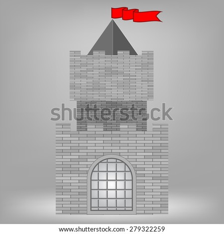 Old Grey Brick Castle on Grey Background