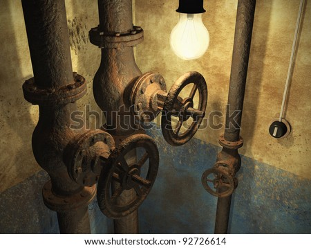 Old grunge abandoned interior with rusty pipes and dirty faded wall