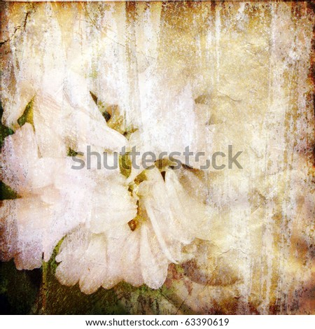Old grunge antique paper texture with floral pattern