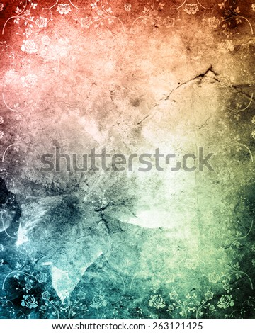 Old grunge antique paper texture with rose pattern - stock photo