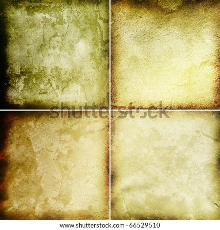 Old grunge antique paper textures set - stock photo