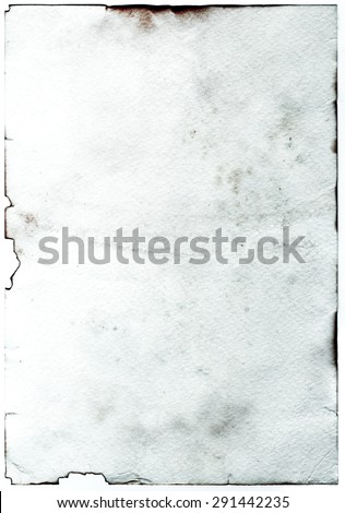 Old grunge antique paper with spots and stains vertical background - stock photo