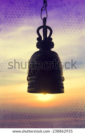 old grunge background bell and the ancient bell,temple of Thailand - stock photo