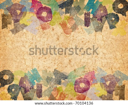 Old grunge background from letters - stock photo