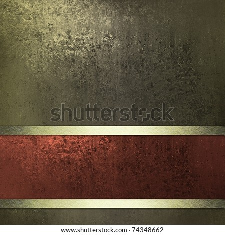 old grunge background or sign with dark olive or brown colors, deep texture and bright lighting, artistic layout design with matching rust red and gold ribbon, and copy space - stock photo