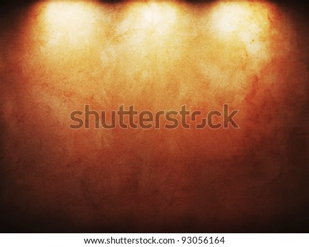 old grunge background with three spots. - stock photo