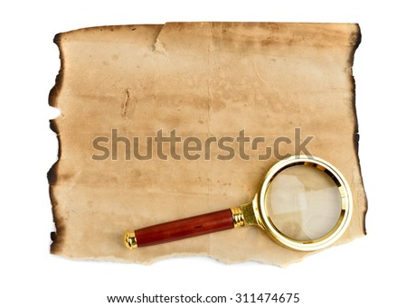Old grunge blank paper sheet with Magnification Glass - stock photo