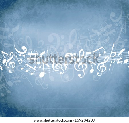 Old grunge blue music background with white notes  - stock photo