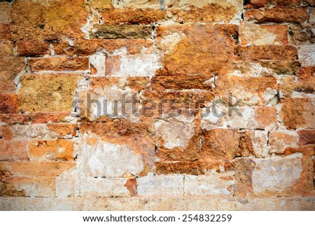 Old grunge brick wall textured background with vignette