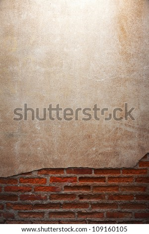 old grunge brick wall with space for text - stock photo