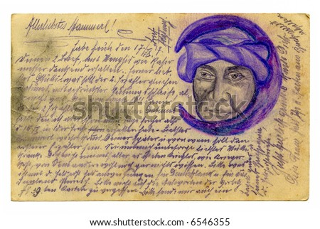 Old grunge calligraphy from on a army postal service card 1917 with drawing - stock photo