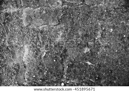 Old grunge cement blocks with moss abstract background - Black and White - stock photo