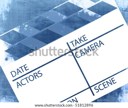 Old grunge clapboard on a blue background