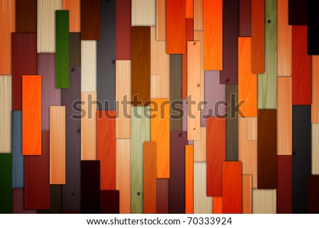 Old grunge colorful wood panels used as background - stock photo