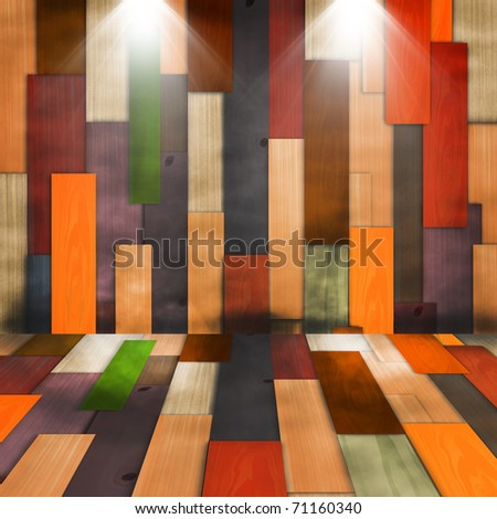 Old grunge colorful wood panels with spotlight used as background
