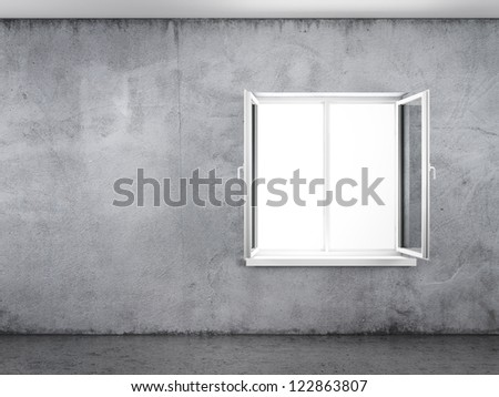 Old grunge concrete wall with white window