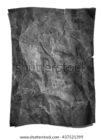 Old grunge crumpled gray paper texture, isolated on white background - stock photo