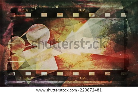 old grunge film strip and movie projector - stock photo