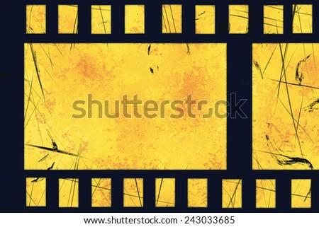old grunge film strip frame - stock photo