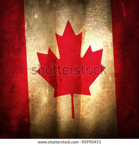 Old grunge flag of Canada - stock photo