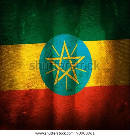 Old grunge flag of Ethiopia - stock photo