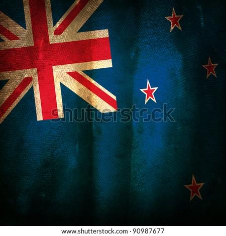 Old grunge flag of New Zealand - stock photo
