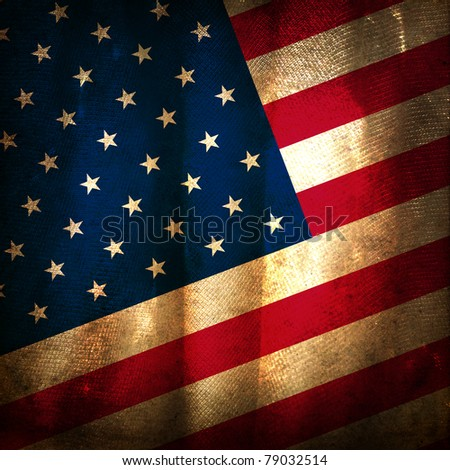 Old grunge flag of United States - stock photo