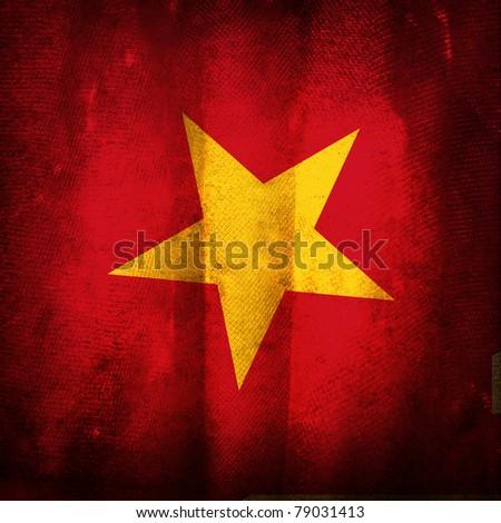 Old grunge flag of Vietnam - stock photo