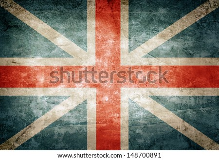 Old grunge Great Britain flag on vintage paper - stock photo