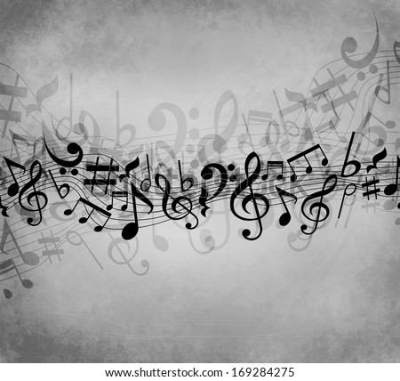 Old grunge grey music background with white notes  - stock photo