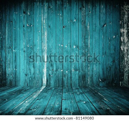 old grunge interior, blue wooden background - stock photo