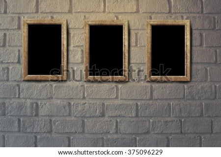 old grunge interior frame against wall - stock photo