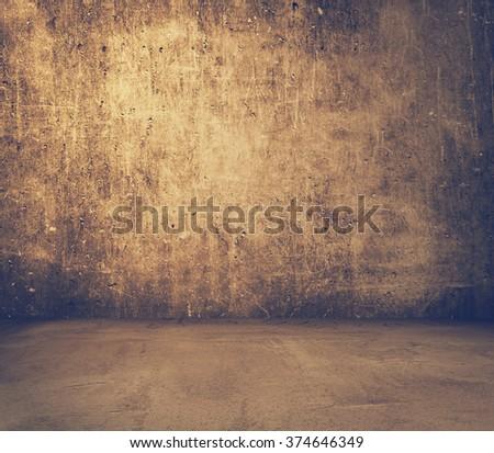 old grunge interior, vintage background, retro film filtered, instagram style - stock photo
