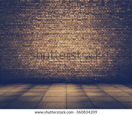 old grunge interior with brick wall, retro film filtered, instagram style