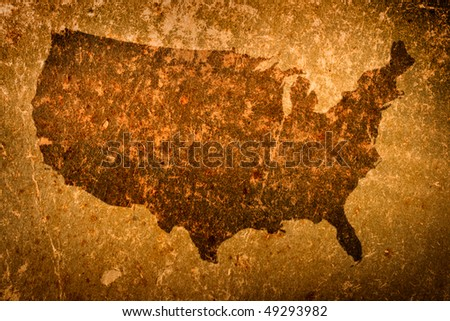 Old grunge map of United States of America - stock photo