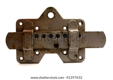 old grunge metal lock isolated on white - stock photo