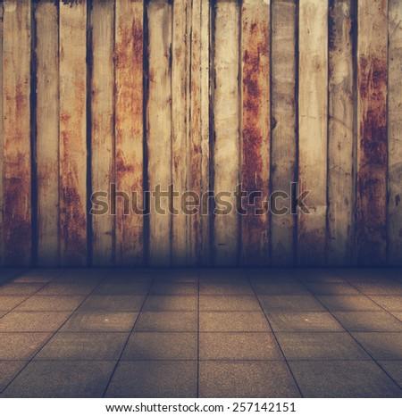 old grunge metallic interior, retro filtered, instagram style - stock photo