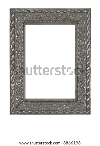 Old grunge metallic photo frame - isolated on white background