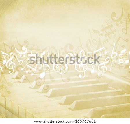 Old grunge music background with notes and piano keyboard - stock photo