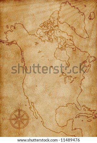old grunge North America map illustration - stock photo