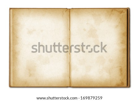 old grunge open notebook isolated on white with clipping path - stock photo