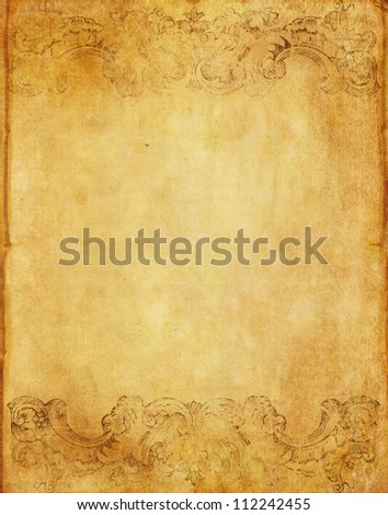 old grunge paper background from book with vintage victorian style - stock photo