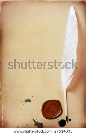 old grunge paper background with feather and stamp - stock photo
