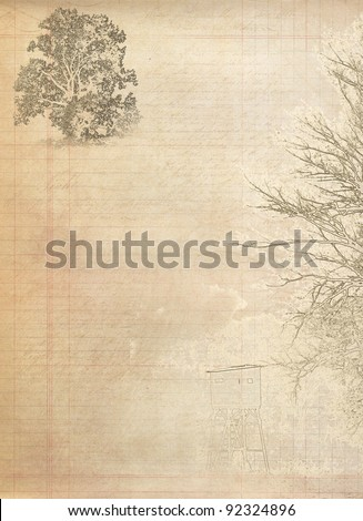 old grunge paper background with old tree shape and space - stock photo