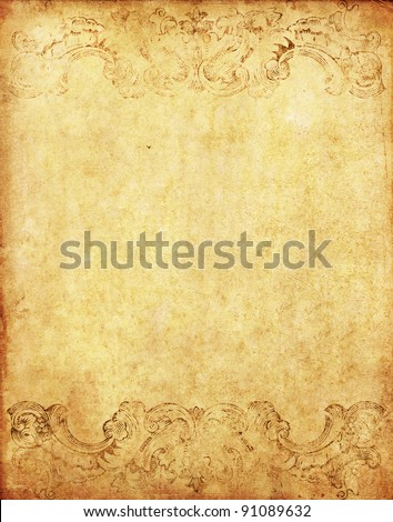 old grunge paper background with vintage victorian style - stock photo