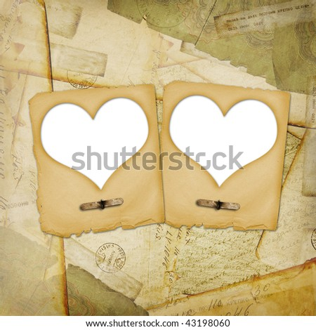 Old grunge paper frame with heart on the ancient background - stock photo