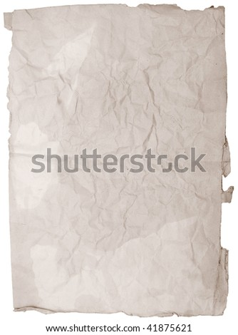 old grunge paper isolated on white