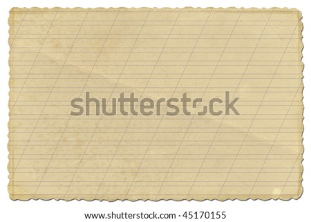 old grunge paper on the white isolated background