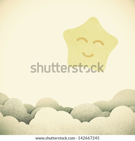 Old Grunge paper texture star on vintage tone  background - stock photo