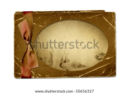 Old grunge paper with bow isolated background